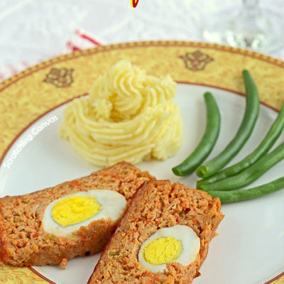 Egg stuffed Meatloaf with Buttermilk Mashed Potatoes