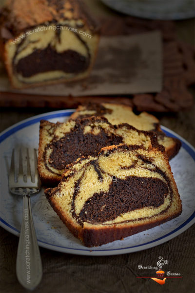 No Bake No Oven Marble Cake Recipe | Coffee Marble Loaf on gastop